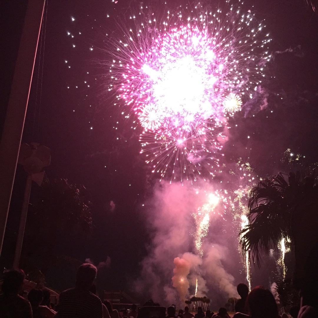 美ら海水族館のトコで毎年やってる花火大会。 真下で寝転がってみるこ...