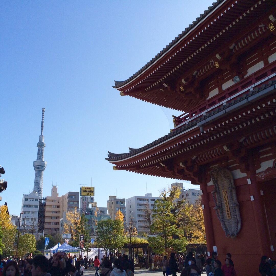 現代のスカイツリーと歴史的な浅草寺があわせて見られる景色!  #浅...