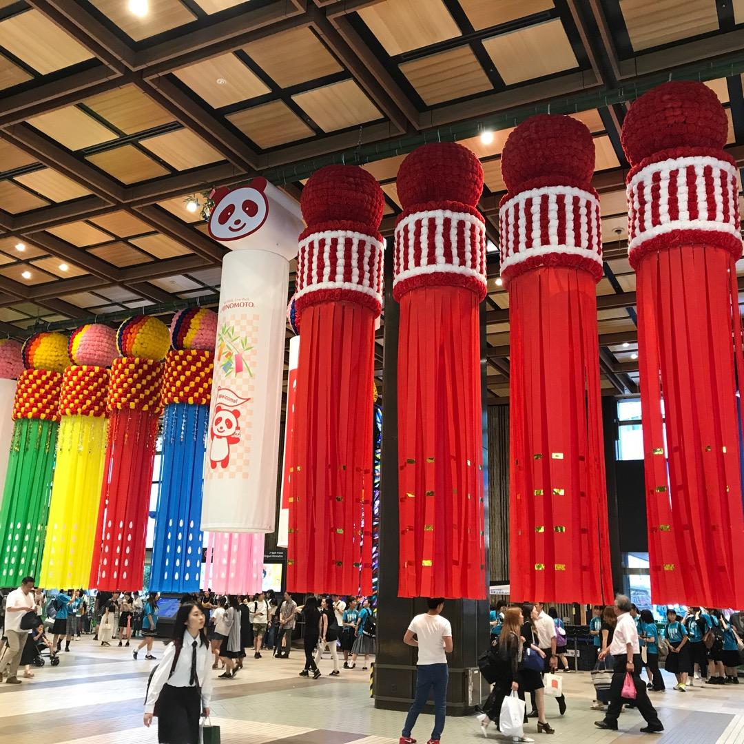 仙台駅も七夕祭り仕様🐥